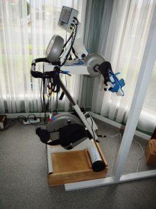 Exercise bike wooden raiser in use